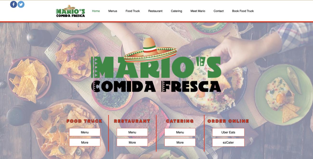 Mario's Comida Fresca homepage screenshot